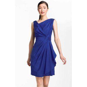 Suzi Chin Faux Wrap Pleated Cotton Blend Dress NEW